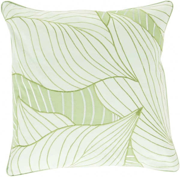 Hosta Sea Foam Olive Down Cotton Throw Pillow - 18x18x4 KSH004-1818D