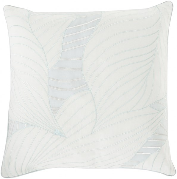 Hosta Ivory Light Gray Poly Cotton Throw Pillow - 20x20x5 KSH007-2020P