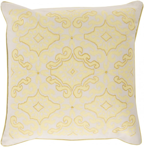 Ikat Butter Ivory Down Cotton Throw Pillow - 22x22x5 KSI001-2222D