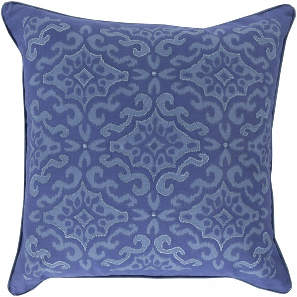 Ikat Slate Cobalt Poly Cotton Throw Pillow - 22x22x5 KSI002-2222P