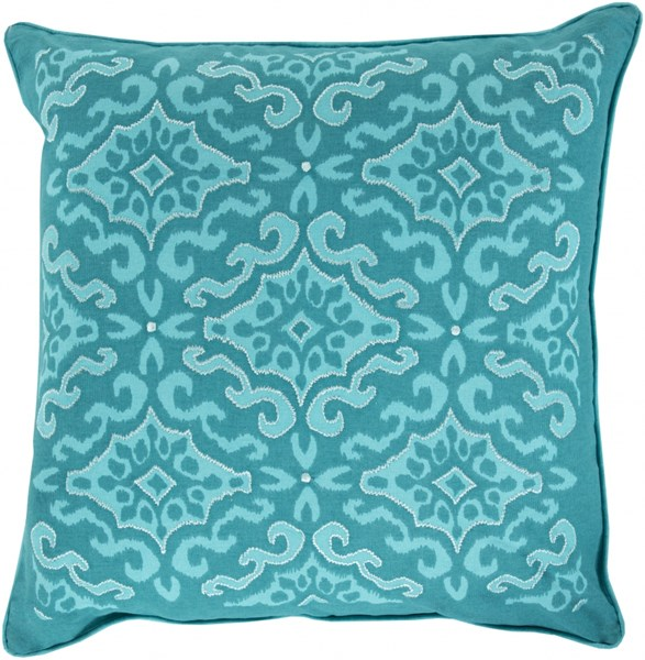 Ikat Teal Cobalt Poly Cotton Throw Pillow - 22x22x5 KSI003-2222P