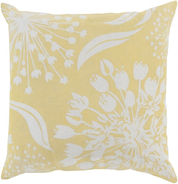 Allium Gold Ivory Poly Fabric Floral Throw Pillow (L 20 X W 20 X H 5) KSL003-2222P