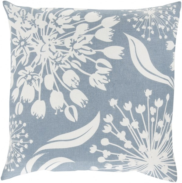 Allium Sky Blue Ivory Down Fabric Throw Pillow (L 18 X W 18 X H 4) KSL005-1818D