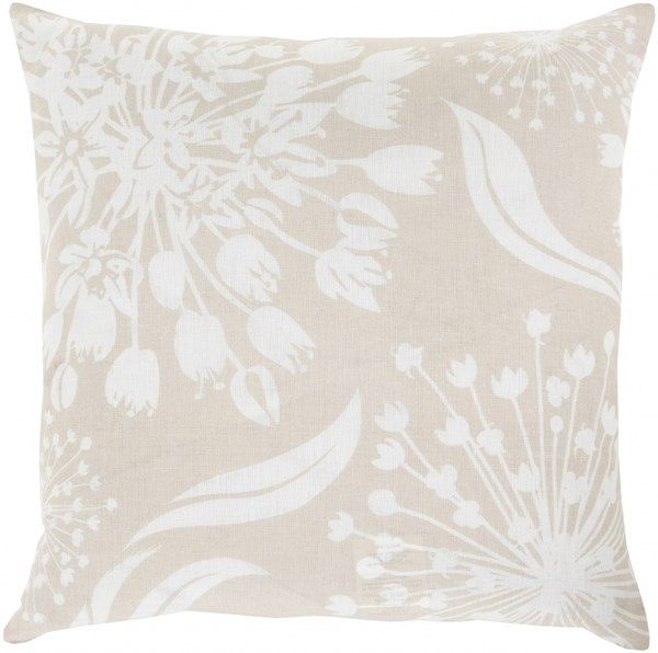 Allium Olive Light Gray Down Fabric Throw Pillow (L 18 X W 18 X H 4) KSL007-1818D