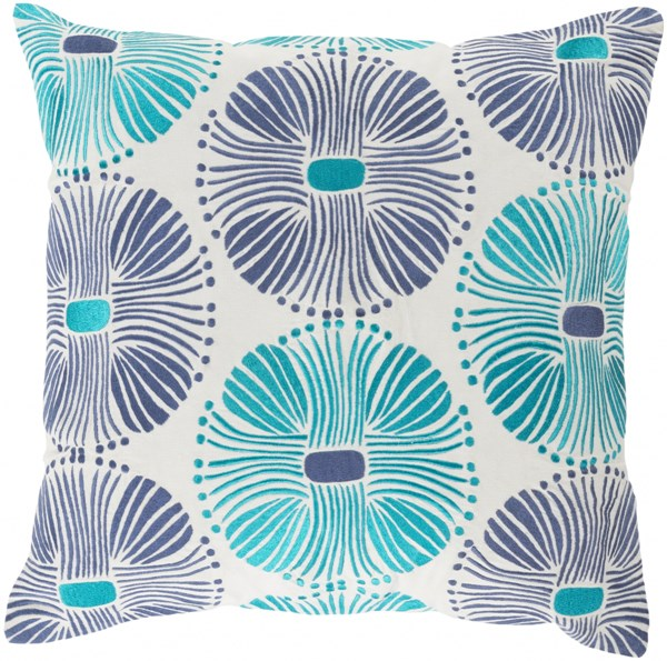 Multi Burst Teal Ivory Down Cotton Throw Pillow (L 18 X W 18) KSM001-1818D