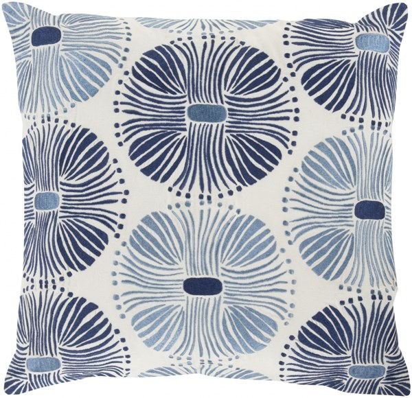 Multi Burst Ivory Navy Sky Blue Poly Cotton Throw Pillow (L 22 X W 22) KSM005-2222P