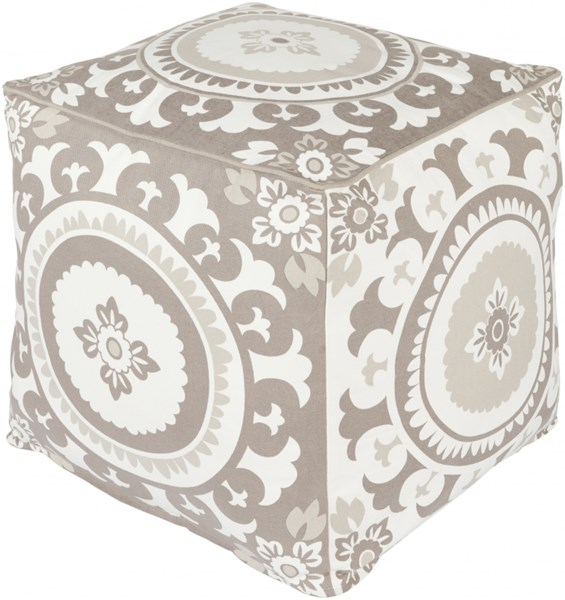 Kate Spain Ivory Olive Taupe Cotton Pouf - 18x18x18 KSPF-018