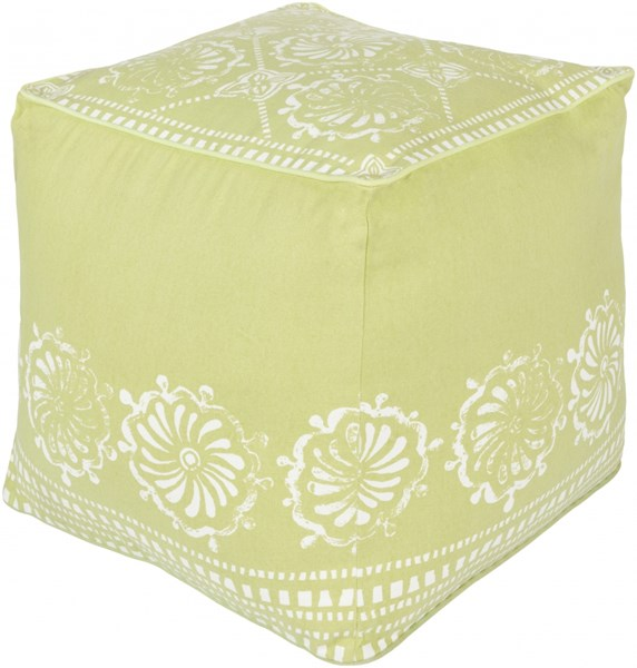 Kate Spain Lime Ivory Cotton Pouf - 18x18x18 KSPF-019