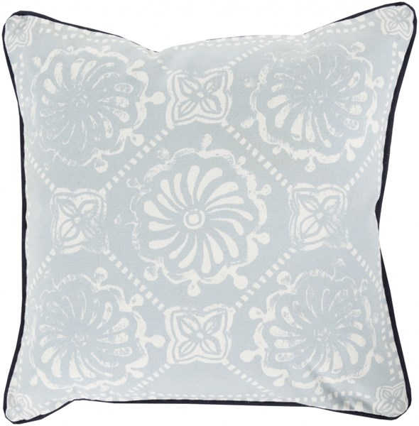 Talavera Ivory Butter Iris Down Cotton Throw Pillow - 18x18x4 KST003-1818D