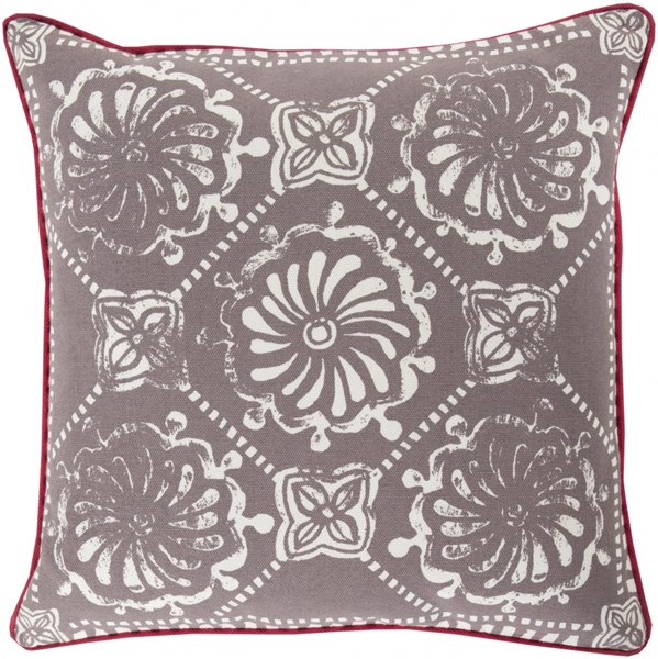 Talavera Olive Light Gray Coral Poly Cotton Throw Pillow - 22x22x5 KST004-2222P