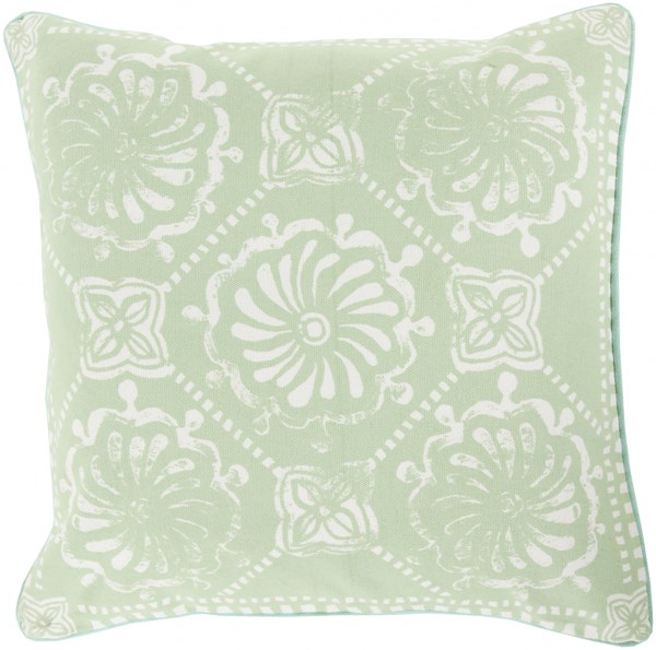 Talavera Mint Ivory Gray Down Cotton Throw Pillow - 18x18x4 KST005-1818D