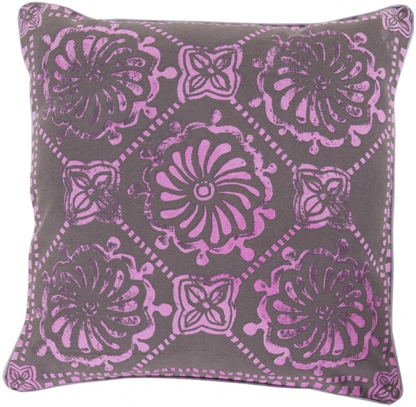 Talavera Chocolate Magenta Poly Cotton Throw Pillow - 18x18x4 KST006-1818P
