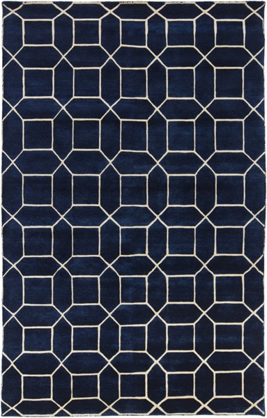 Keystone Contemporary Navy Ivory Wool Area Rugs 13100-VAR1