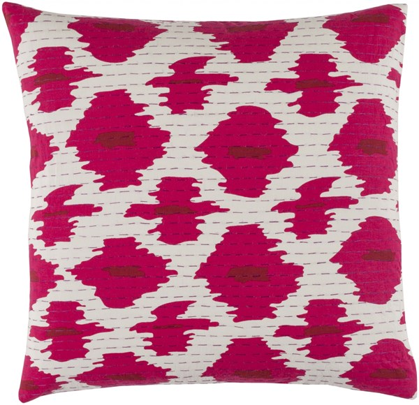 Kantha Magenta Cherry Ivory Poly Cotton Throw Pillow - 20x20x5 KTH001-2020P