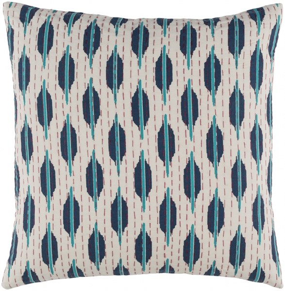 Kantha Teal Cherry Ivory Down Cotton Throw Pillow - 22x22x5 KTH004-2222D