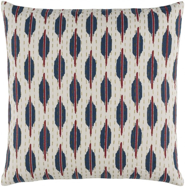 Kantha Burgundy Olive Ivory Down Cotton Throw Pillow - 22x22x5 KTH005-2222D
