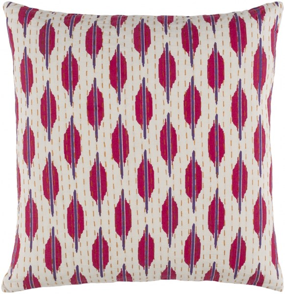 Kantha Pink Gold Ivory Poly Cotton Throw Pillow - 22x22x5 KTH006-2222P