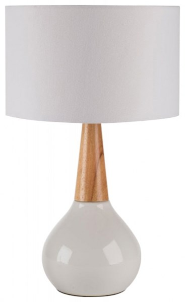 Kent White Ceramic/Wood Linen Table Lamp KENT-DCR-BNDL
