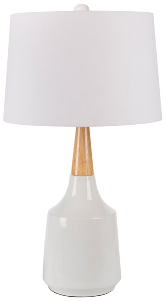 Kent White Ceramic Wood Linen Table Lamp - 15x27.5 KTLP-002
