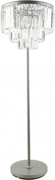 Luana Brushed Silver Iron Crystal Floor Lamp (L 20 X W 20 X H 63.5) LAA100-FLR