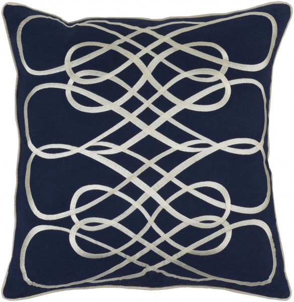Leah Navy Beige Poly Linen Cotton Throw Pillow - 22x22x5 LAH001-2222P