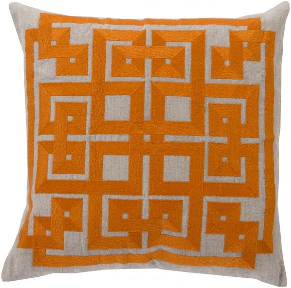 Gramercy Burnt Orange Light Gray Down Linen Throw Pillow - 22x22x5 LD003-2222D