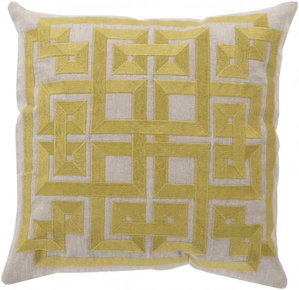 Gramercy Lime Light Gray Down Linen Throw Pillow - 20x20x5 LD005-2020D