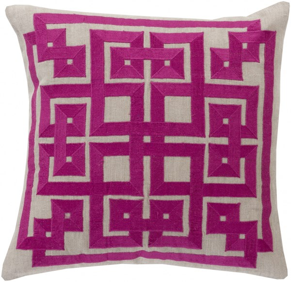 Gramercy Magenta Light Gray Poly Linen Throw Pillow - 20x20x5 LD008-2020P