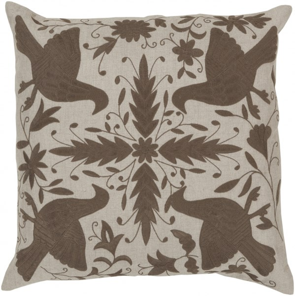 Otomi Olive Light Gray Down Linen Throw Pillow - 22x22x5 LD022-2222D