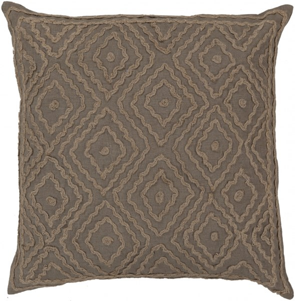 Atlas Olive Taupe Poly Linen W/ Cotton Detail Throw Pillow- 20x20x5 LD026-2020P