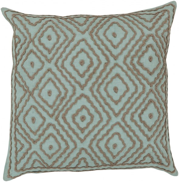 Atlas Mint Taupe Poly Linen W/ Cotton Detail Throw Pillow - 22x22x5 LD027-2222P