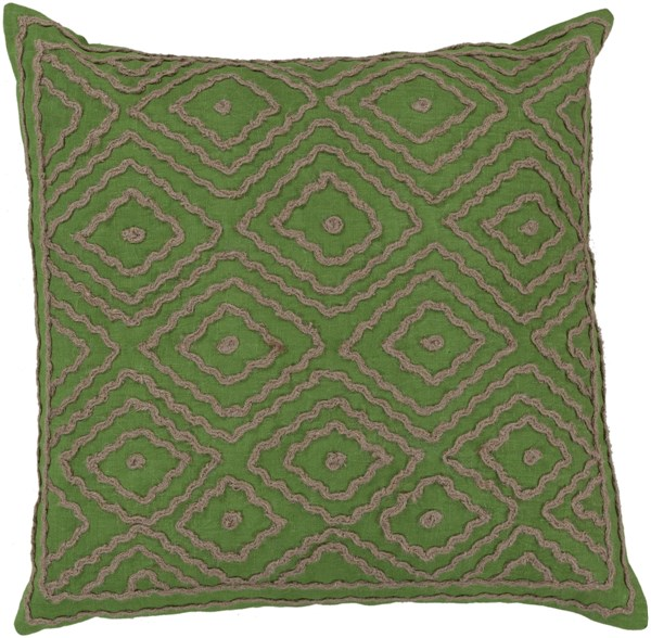 Atlas Green Lime Poly Linen W/ Cotton Detail Throw Pillow - 20x20x5 LD028-2020P