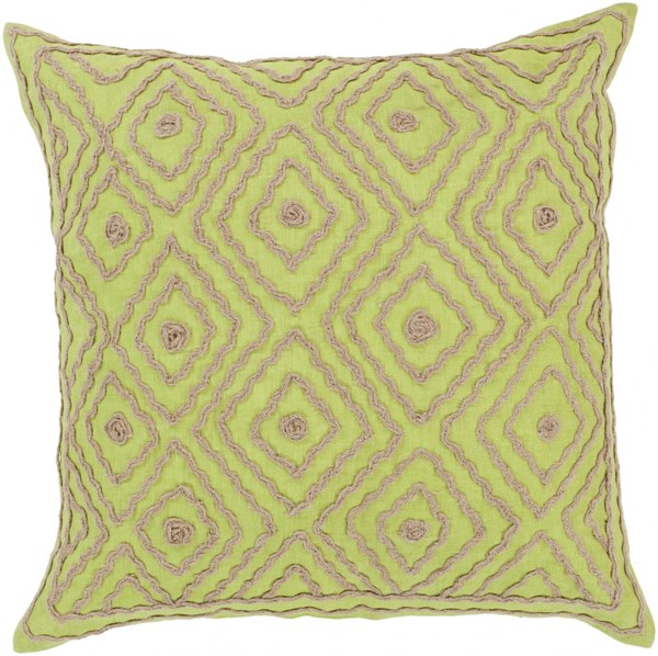 Atlas Lime Taupe Down Linen W/ Cotton Detail Throw Pillow - 18x18x4 LD031-1818D