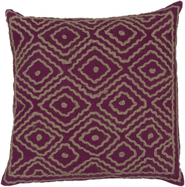 Atlas Magenta Taupe Down Linen Cotton Detail Throw Pillow - 20x20x5 LD032-2020D