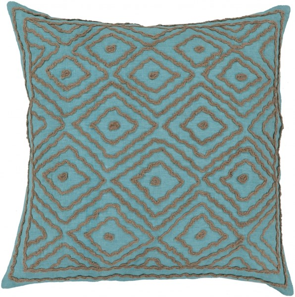 Atlas Aqua Taupe Down Linen W/ Cotton Detail Throw Pillow - 18x18x4 LD033-1818D