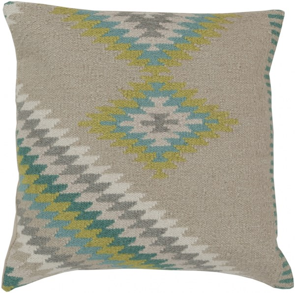 Kilim Beige Aqua Olive Lime Down Wool Throw Pillow - 20x20x5 LD034-2020D