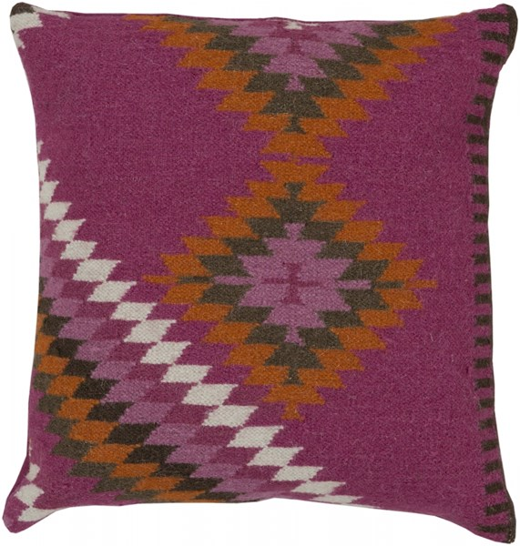 Kilim Beige Orange Chocolate Down Wool Throw Pillow - 22x22x5 LD035-2222D