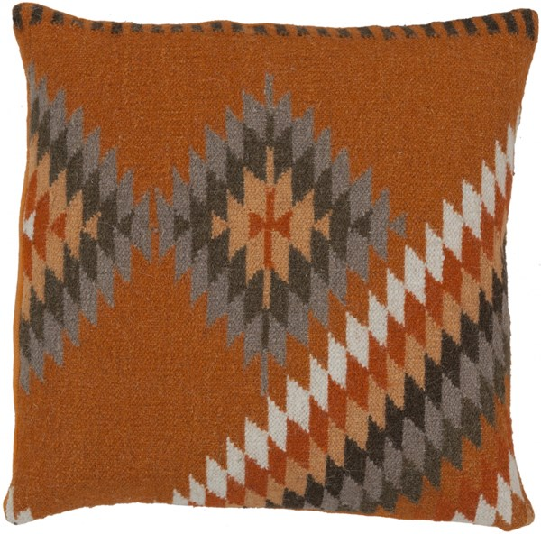 Kilim Burnt Orange Tan Olive Taupe Down Wool Throw Pillow - 22x22x5 LD037-2222D