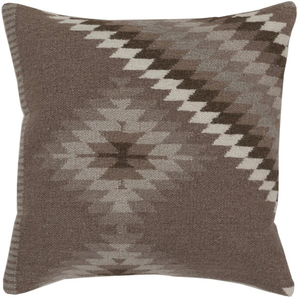 Kilim Taupe Light Olive Light Gray Poly Wool Throw Pillow - 22x22x5 LD038-2222P