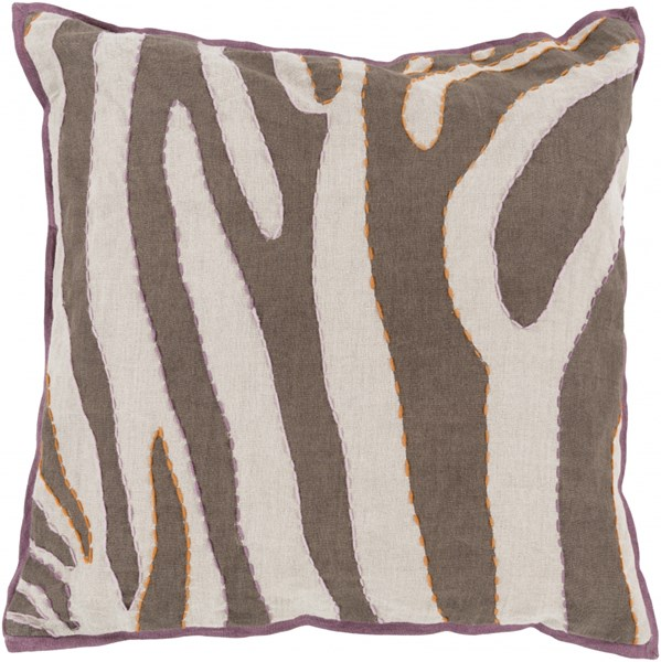 Zebra Lavender Eggplant Orange Poly Linen Throw Pillow - 18x18x4 LD039-1818P