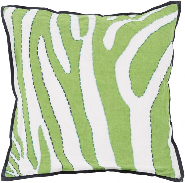 Zebra Ivory Green Navy Aqua Down Linen Throw Pillow - 22x22x5 LD040-2222D