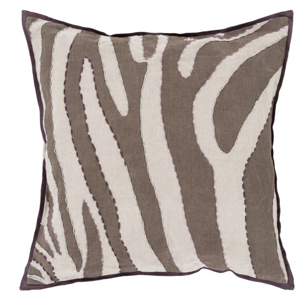 Zebra Gray Chocolate Mauve Taupe Down Linen Throw Pillow - 22x22x5 LD041-2222D