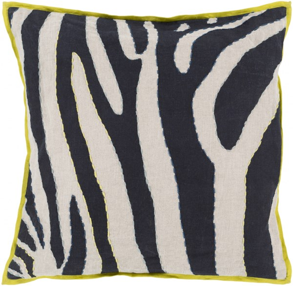Zebra Light Gray Slate Lime Teal Down Linen Throw Pillow - 18x18x4 LD042-1818D