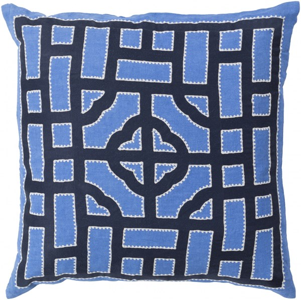 Chinese Gate Navy Ivory Down Fabric Throw Pillow (L 20 X W 20 X H 5) LD044-2020D