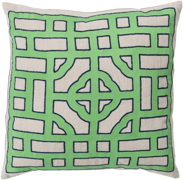 Chinese Gate Green Navy Poly Fabric Throw Pillow (L 20 X W 20 X H 5) LD045-2020P