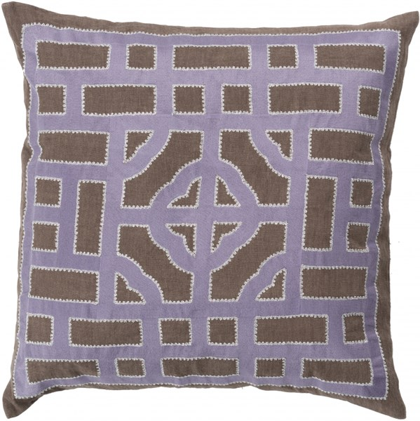 Chinese Gate Mauve Gray Poly Fabric Throw Pillow (L 18 X W 18 X H 4) LD048-1818P