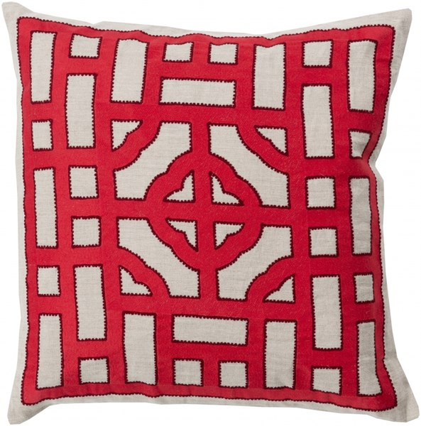Chinese Gate Gray Cherry Poly Fabric Throw Pillow (L 20 X W 20 X H 5) LD049-2020P