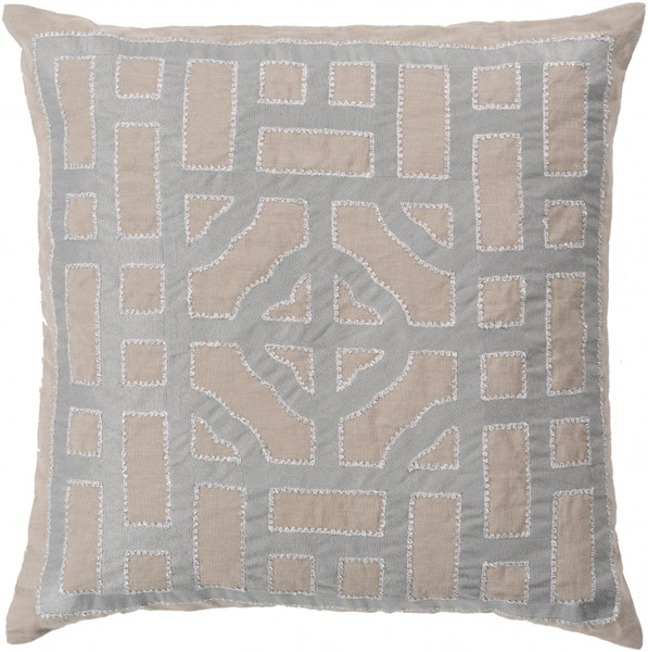 Chinese Gate Taupe Gray Down Fabric Throw Pillow (L 18 X W 18 X H 4) LD050-1818D