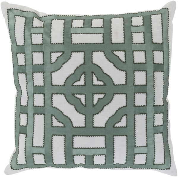 Chinese Gate Gray Moss Down Fabric Throw Pillow (L 20 X W 20 X H 5) LD052-2020D