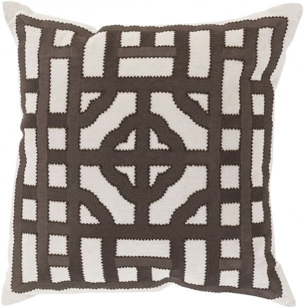 Chinese Gate Ivory Black Poly Fabric Throw Pillow (L 20 X W 20 X H 5) LD053-2020P